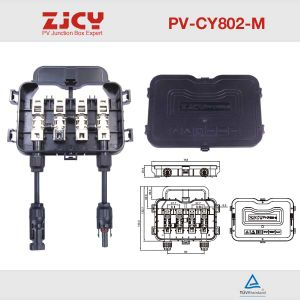 PV-Cy802-M Copper Cover 8-12A 4 Rail 3 Diodes 2output of Cable Junction Box for Solar Panel/System