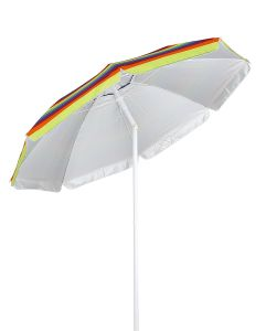 6 Ft Stripe Outdoor Beach Umbrella Sun Shelter With Tilt And Carry Bag Multicolor Yellow