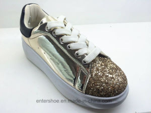 Low Top Fashion Leather Women Shoes with PVC Outsole (ET-XK160349W)