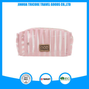 Fashion Lady Stripe Transparent PVC Make-up Cosmetic Bags pictures & photos