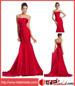 Red Mermaid Beaded Straps Long Bridesmaid Party Dress Prom Gown Evening Dress (TC131002)