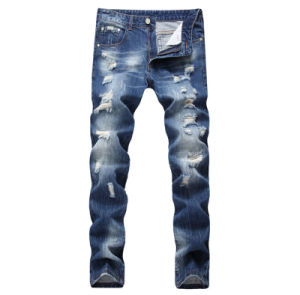 Manufacturer Fashion Hot Sale Cotton Straight Slim Ripped Men′s Jeans Pants