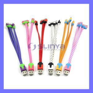 USB Smart Phone 3 in 1 Flat Nylon Fabric Braid Noodle Lightning Cable for iPhone 6 5 / Samsung Galaxy S6 S5 (NOODLE-82) pictures & photos