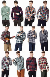 Fashion 100% Cotton Woven Men′s Shirt with Plaid Print pictures & photos