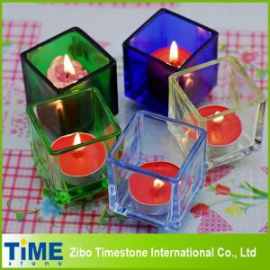 Colored Square Glass Candle Holder (TM1525) pictures & photos