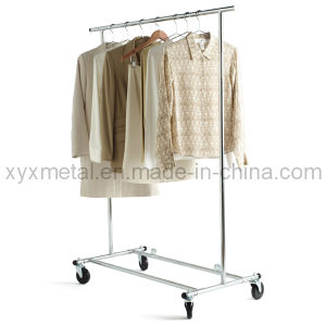 Folding Chromed Rolling Single Rail Clothing Garment Cloth Clothes Rack pictures & photos