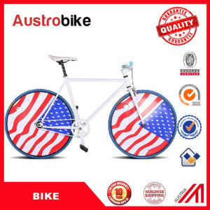 China Cheap Aluminum Fixed Gear Bike 26 Inch Blue White Color with European Components for Sale with Leather Saddle