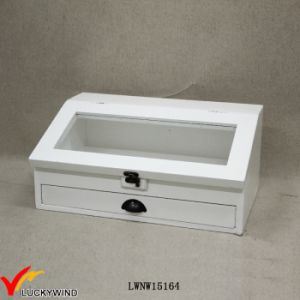 White Decorative Slanted Glass Top Wooden Box pictures & photos