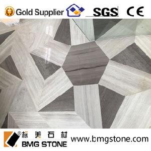 China Wood Grain Waterjet Medallion Marble Flooring Border Designs