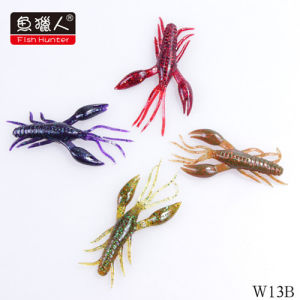 China High Quality Plastic Craw Shrimp Soft Lures, Floating, 80mm
