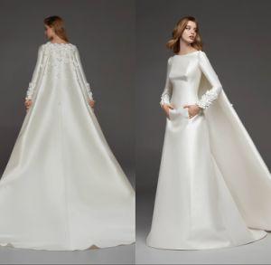 China Muslim Long Sleeve Satin Mermaid Long Train Wedding Dress Qh5523 China Women Dress And Ladies Dress Price