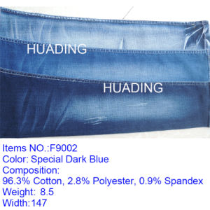 Horizontal Straight Bamboo Cotton High-Elastic Jeans Fabric in Denim (F9002) pictures & photos