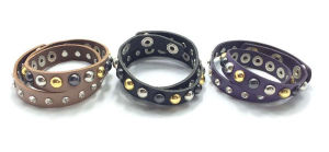 Leather Stud Bracelet with Glass Stone