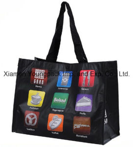 Custom Printed Large RPET Nwpp Laminated Shopper Tote Bag pictures & photos