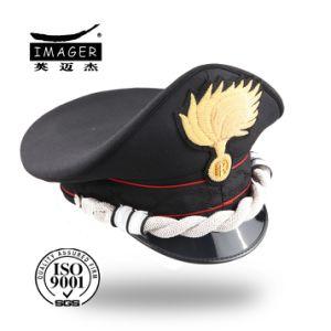 Black Custom Embroidered Military Senior Chief Peaked Caps