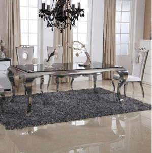 Modern High Gloss Glass Top Dining Table with Stainless Steel pictures & photos