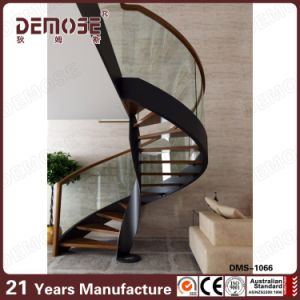 Circular Design A3 Steel Stringers Wood Handrail Stairs (DMS 1066)
