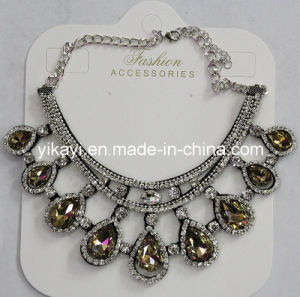 Women Fashion Jewelry Champagne Waterdrop Glass Crystal Pendant Necklace (JE0210-champagne) pictures & photos