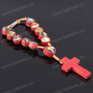 Handmade Cord Wooden Rosary Bracelet with Many Saint Pictures