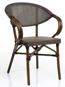 Stackable Aluminum Mesh Fabric Outdoor Cafe Chair