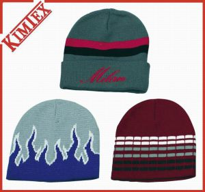 Wholesale Cheap Acrylic Custom Jacquard Knitted Winter Reversible Beanie pictures & photos