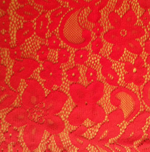 Bright Red Color Lace Dress Fabric for Wedding