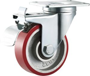 Medium Duty Double Ball Bearing Cast Iron PU Caster