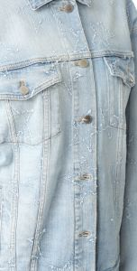 Distressed Stars Boxy Oversized Denim Women Jeans Jacket pictures & photos