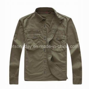Army Green 100% Cotton Men′s Casual Shirt Jacket (HF1906) pictures & photos