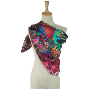 Silk Twill Scarf Fish Pattern Square Scarves