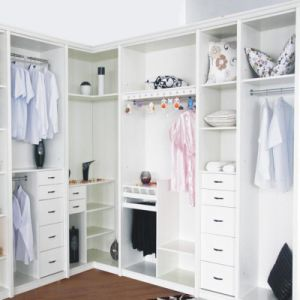 White Big Multi-Function L Shaped Wood Wardrobe Factory Direct Sale