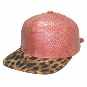 Leopard Print Peak Pink PU Leather Snap Back Cap Snake Skin Leather pictures & photos