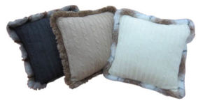 Knitted Cushion with Fur