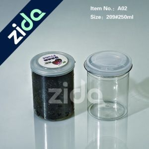 Diameter 250ml Pet Plastic Dried Fruit Can with Aluminum Lid