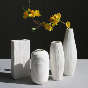 China modern ribbed design small white ceramic decorative tabletop modern ribbed design small white ceramic decorative tabletop centerpiece vase flower pot mightylinksfo