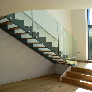 Indoor Stainless Steel Staircase with Tempered Glass Balustrade pictures & photos