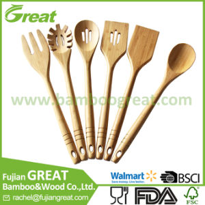 Bamboo Kitchen Utensils 6 Wooden Spoons And Spatula Set For Serving And Cooking Tools