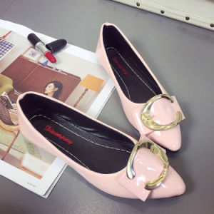 The Factory Sells Spring and Summer New Korean Edition Flat Bottom Square Buckle Shallow Woman′s Shoes Wholesale pictures & photos
