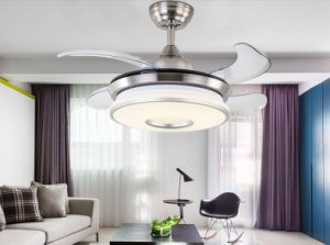 42 Inch Luxury Modern Crystal Chandelier Ceiling Fan Lamp Folding Ceiling Fans With Lights And Remote Control For Dining