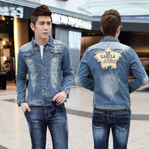 aed8cc8766 Men′s Denim Jackets Ripped Jeans Jackets Coats Men Frayed Vintage Coats  Hip-Hop Brand Slim Fit Cotton Single Breasted Men Jeans Coats Turn-Down  Collar ...