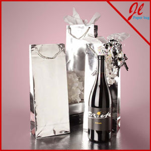 Metallic Paper Wine Bottle Euro Tote Hologram Wine Bags Foil Paper Bags for Wine pictures & photos