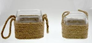 Transparent Glass Candle Holder with Hemp Rope pictures & photos