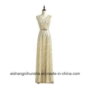 China Double Shoulder V Neck Lace Up Long Design Gold Color Evening