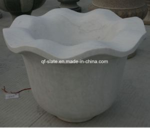 Natural White Marble for Carved Stone Flower Port