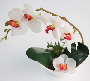 Elegant White Artificial Flower Bonsai of Orchid