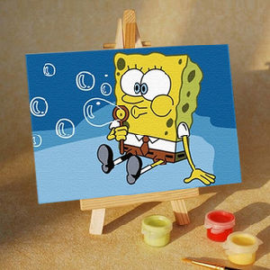 China Bubbles 10x15cm Oil Painting By Numbers Stretched Canvas With Mini Easel And Pain Set