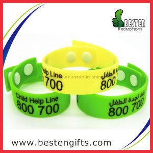 Newest Fashion Colorfill Children Silicone Bracelet with Button (SW00012)
