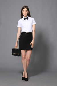 Top Quality Fashion Women′s Short Sleeve Formal Shirt pictures & photos