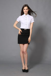 New Design Women′s Cotton White Formal Shirt of Short Sleeve --Md1a8500 pictures & photos