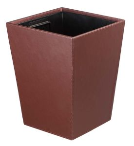 Quick and Easy Clean Square Leather Indoor Waste Bin pictures & photos